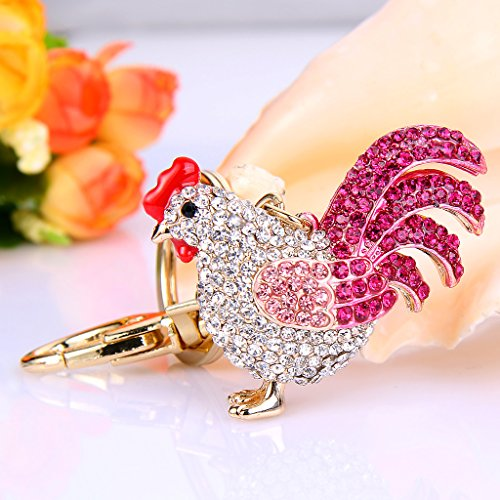 EVER FAITH Women's Austrian Crystal Rooster Keychain Pink Gold-Tone by EVER FAITH (Image #2)