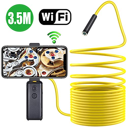 Wireless Endoscope,TurnRaise Upgrade Semi-Rigid Flexible WiFi Borescope Inspection Camera with IP67 Waterproof 2MP HD Borescope Inspection Snake Camera FIt iOS Smartphone,Samsung, iPad, Table(11.5FT)