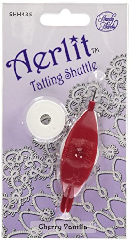 Handy Hands Aerlit Tatting Shuttle with 2 bobbins - SHH435, Cherry Vanilla