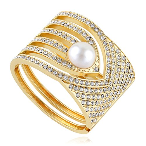 (QTMY Alloy Metal Plated with Gold Pearl Rhinestone Hollow Hoop Wide Bracelet Bangle (Gold1))