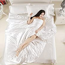 Classic luxury Silky Silk 4Pcs Bedding Set Duvet Cover Flat Sheet Pillowcase Free Silk SleepwearTwin^^^White^^^white