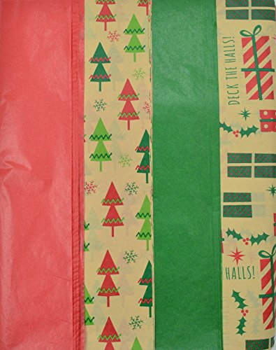 Christmas Kraft Tissue Paper Printed and Solid- 100 Sheets by Madison Paper