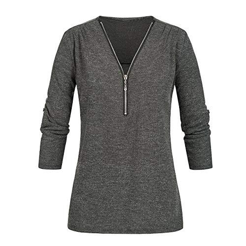 Zipper Entry - Toimothcn Womens Casual Knit Tops Long Sleeve V Neck Zipper Tunic Shirt Blouse (Gray,XL)