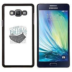 Sígueme Arca Dios nave azul barco blanco- Metal de aluminio y de plástico duro Caja del teléfono - Negro - Samsung Galaxy A7 / SM-A700
