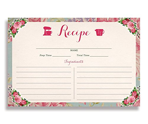 Floral Recipe Cards (Set of 25) 4x6 inches. Double Sided Card Stock Recipe Card Set | Giada