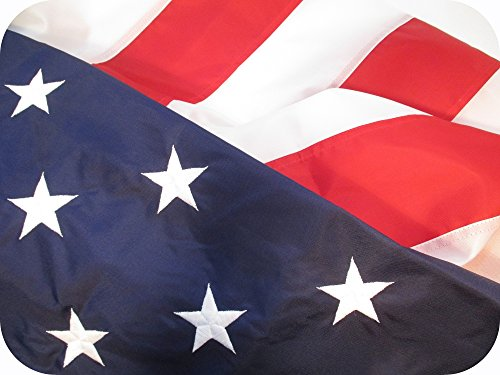 AMERICAN FLAG 3x5 TOUGH DURABLE SOLARMAX NYLON 100% Made in US Fade Resistant All Weather Long USA Flag SEWN STRIPES EMBROIDERED STARS Brass Grommets Strong but Lightweight to fly in a light breeze (Flag Lights Usa)