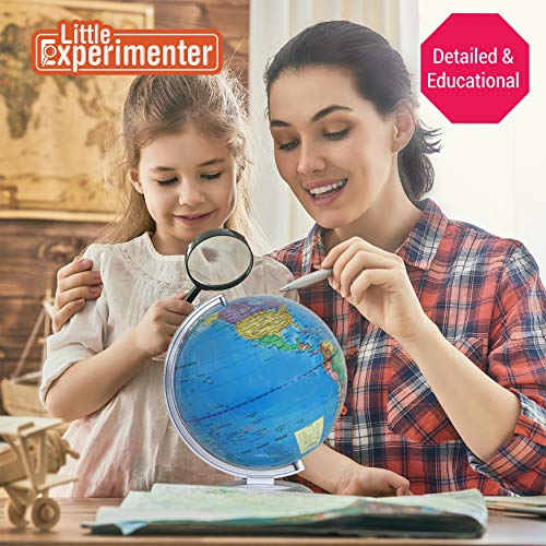 Illuminated Globe of The World with Stand | World Globe for Kids Learning with Build in LED Night Light | Light Up Earth…