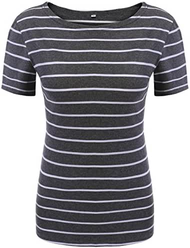 POGTMM Women Black and White Striped Short Sleeve T-shirt Tops Slim Fit Stripes Tee