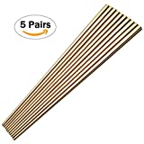 Buyer Star 5 Pairs Square Metal Chopsticks, Gold Reusable Stainless Steel Traditional Chinese Chopstix