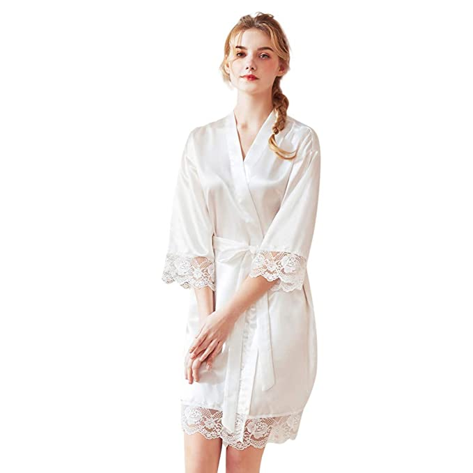 Conquro Señoras de Verano Vestido de Encaje de Manga Larga de Seda de Primavera y Verano
