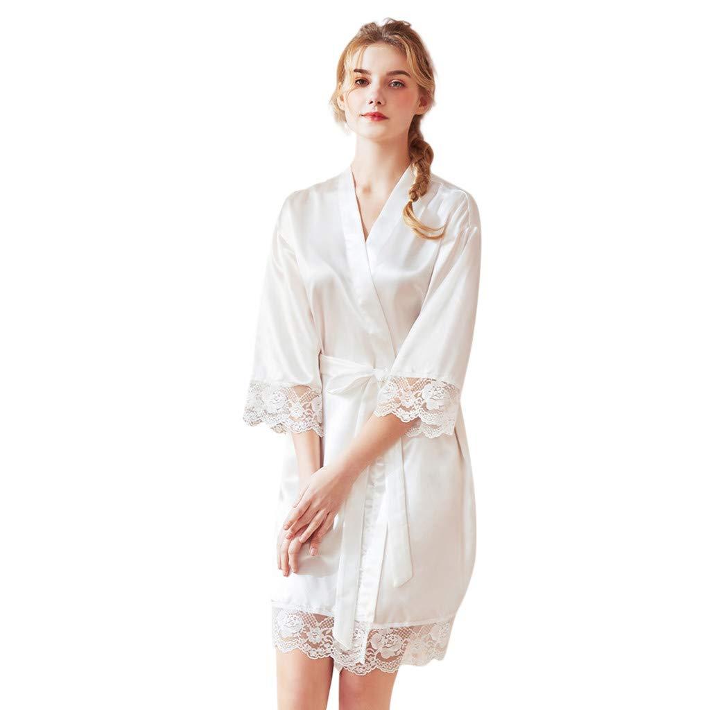 Women Long Satin Robe Long Sleeve Bandage Kimono Simplicity Stlye Lace Splice Babydoll (XL, White)