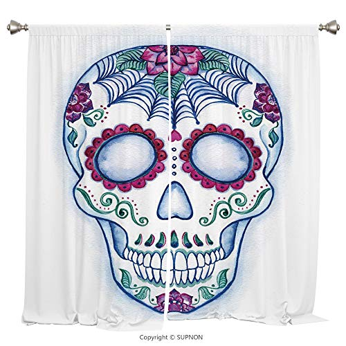 Rod Pocket Curtain Panel Thermal Insulated Blackout Curtains for Bedroom Living Room Dorm Kitchen Cafe/2 Curtain Panels/55 x 45 Inch/Sugar Skull Decor,Day of The Dead Colorful Skull with Floral Orname - Rose Prairie Cup