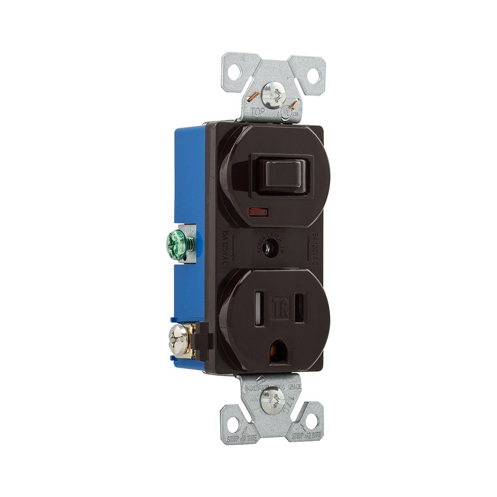 Eaton TR274B 15 Amp 120V 5-15 3-Wire Combination Receptacle & Toggle ...