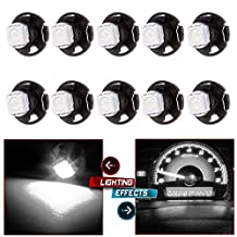 """CCIYU 10 Pack White T5/T4.7 T1.25"""" Neo Wedge LED Bulbs w/ Base For A/C Climate Control Light"""