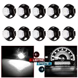 """CCIYU 10 Pack White T5/T4.7 Neo Wedge LED Bulb Dash A/C Climate Control Instrument Light T5 T1.25"""" Neo Wedge Base Instrument Panel and Gauges/ Side Light/ Indicator Light"""