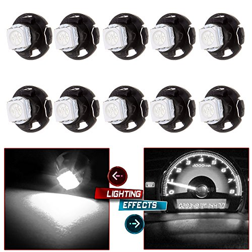 cciyu 10 Pack White T5/T4.7 Neo Wedge LED Bulb Dash A/C Climate Control Instrument Light T5 T1.25