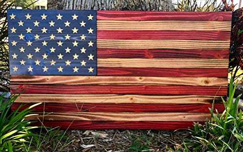 Premium Handmade Rustic American Wood Flag | USA | Wall Art | 100% Handmade | Each Star Carved by Hand | 36