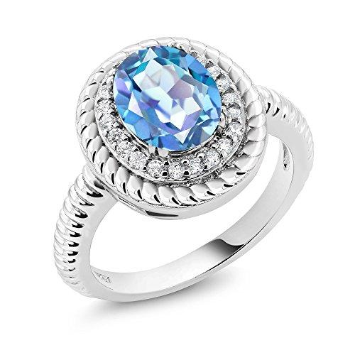 1.80 Ct Oval Millennium Blue Mystic Quartz 925 Sterling Silver Ring - Blue Quartz Ring