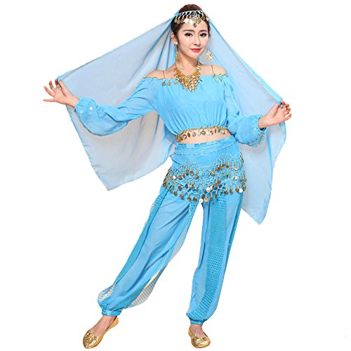 Belly Dance Costume Bollywood Dress - Chiffon Indian Dance Outfit Halloween Costumes with Head Veil for Women/Girls(Light Blue,Free -