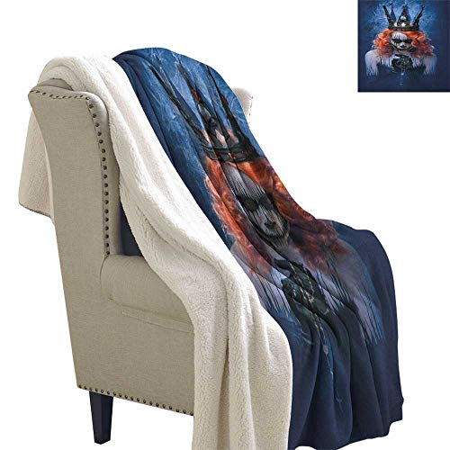 Suchashome Queen Blanket Queen of Death Scary Body Art Halloween Evil Face Bizarre Make Up Zombie Lightweight Blanket 60x32 Inch Navy Blue Orange Black