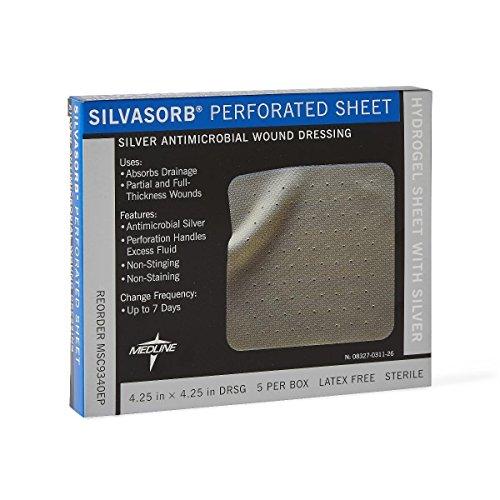 Silvasorb Dressings - Medline MSC9340EPZ SilvaSorb Perforated Sheet Dressings, 4