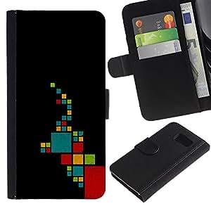 Billetera de Cuero Caso Titular de la tarjeta Carcasa Funda para Samsung Galaxy S6 SM-G920 / Pattern Minimalist Teal Red / STRONG
