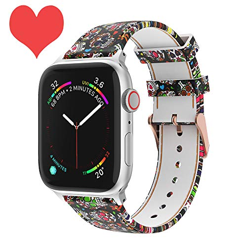 Skull Floral Band Compatible with Apple Watch 4, Apple Watch 3, Apple Watch 2/1, 44/42mm Women Soft Silicone Solid Unique Pattern Printed Replacement Bands for Apple Watch 4/3/2/1,Apple Watch Nike+