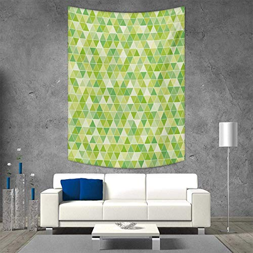 (smallbeefly Lime Green Beach Throw Blanket Triangles Geometry Figures Modern Digital Pyramids Soft Icons Graphic Vertical Version Tapestry 40W x 60L INCH Pale Fern Green)