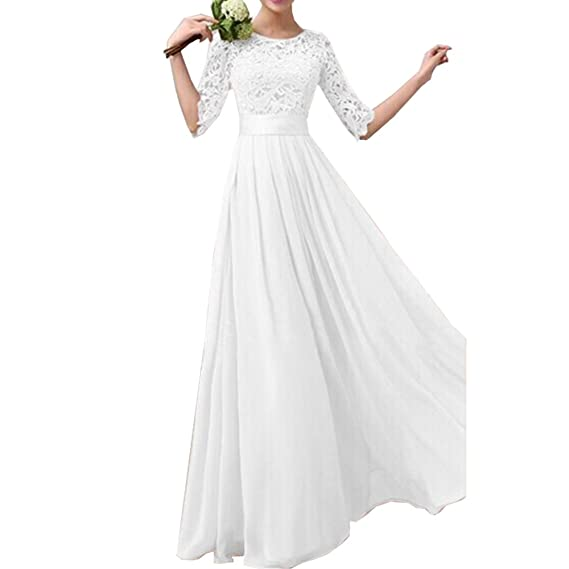 Review Eiffel Women's Lace Chiffon A-line Long Maxi Dress Evening Wedding Bridesmaid Gown