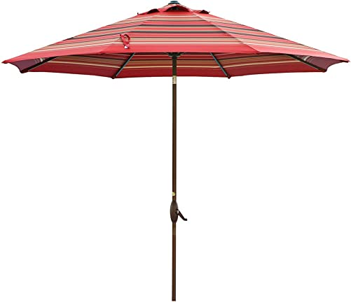 Abba Patio 11-Feet Patio Umbrella Outdoor Table Umbrella with Push Button Tilt and Crank, Red Striped