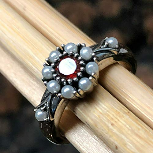 Natural 1ct Pyrope Garnet 925 Solid Sterling Silver Engagement Ring sz 6, 7, 8, 9