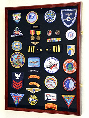(XL Military Medals / Pin / Patches / Badges / Ribbons / Insignia / Flag Display Case Cabinet Shadowbox (Cherry Wood)