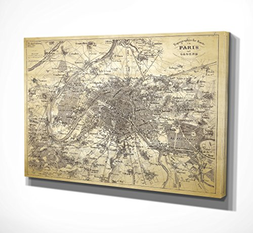 WEXFORD HOME Antique Paris Stencil Map Gallery Wrapped Canvas Wall Art, 36x48,