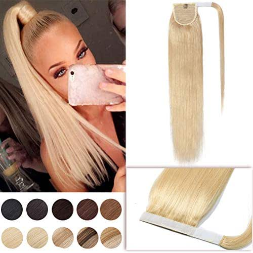 16 Inch Wrap Around Hair Ponytail Extensions Remy Human Hair Magic Paste Binding Pony Tail Hairpiece with Comb for Women One Piece #613 Bleach Blonde Long Straight
