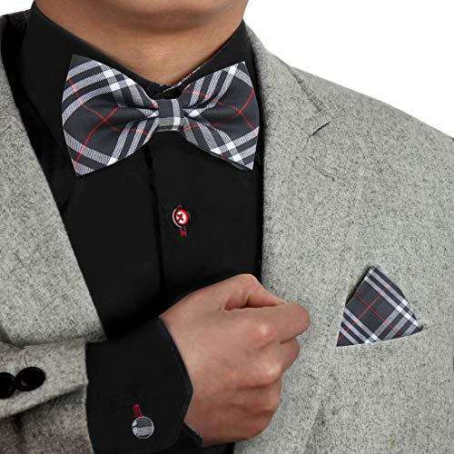 Black Pre-Tied Bow Ties Set For Men Microfibre Plaid Pre-Tied Bow Ties And Pocket Square Cufflinks Set For Men Dan Smith Dbc3C01F Black White