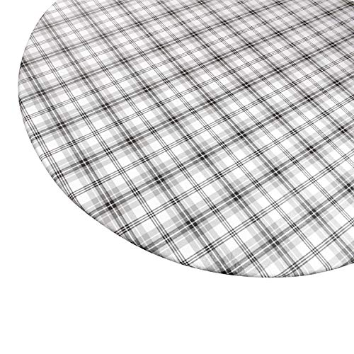 Round Vinyl Tablecloth with Stitched Elastic Edge for Tight Fit - 44 Inch, Heavy Duty, Felt Backed, Plaid Pattern Table Cover for Easy Clean Up - Gray, Black, White - Fits Up to 44 inch Circular Table ()
