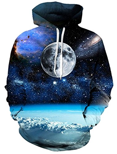 Womens 3D Sweater Graphic Starry Sky Planet Hoodie Valentine's Day Hoodies Pullover Unisex Printed Sweatshirt for Kids Boys ()