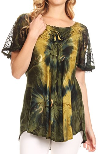 (Sakkas 14785 - Juniper Short Sleeve Lace Up Tie Dye Blouse with Sequins and Embroidery - Olive Green - OSP)
