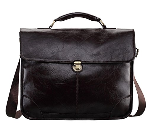 Vintage Leather Briefcase Flap Over Messenger product image