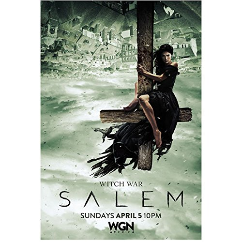 Salem Cross - Salem (TV Series 2014 - ) 8 Inch x10 Inch Photo Janet Montgomery Sitting on Inverted Cross
