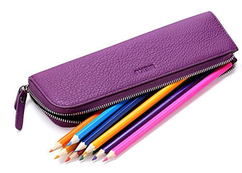 - MEKU Pencil Case Genuine Leather Pen Case Stationery Bag Zipper Pouch Pencil Holder with 2 Slots Purple