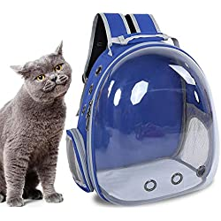 Yoidesu Mochila Portátil para Mascotas, Mochila de Ventilación Múltiple para Bolsas de Aire, Mochila de Cápsulas Space Pet, Mochila para Mascotas Bubble Traveller, Transparente para Gatos(Armada)