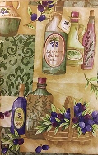 Olive Branch Brown Glass (Tuscan Themed Vinyl Flannel BackTablecloths - Olives/Olive Oil (52