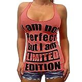 Fashion Womens O-Neck Letter Printing Sleeveless Vest Blouse Loose Shirt Tops