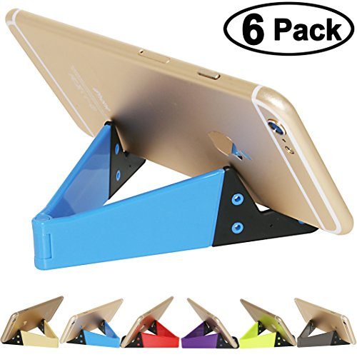 Cell Phone Holder Tablet Stands, HONSKY 6 Packs V-Shape Universal Portable Foldable Plastic Desk Stands, for Apple iPhone iPad, Samsung Galaxy Note, LG, Other Android Devices - (Bundle, Multi-Color) (Cd Colored Slim Multi)