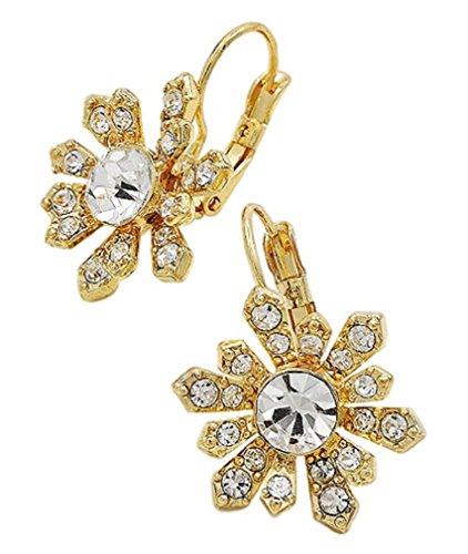 Gold Starburst Earrings 1 1/4