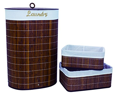 Set of 3 Laundry Hampers Bamboo Oval Wicker Clothes Bin B...