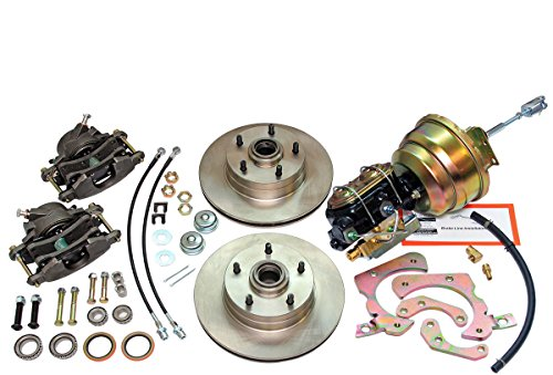 (Compatible With 1955-1957 Chevrolet Chevy Front Power Disc Brake Conversion Upper & Lower Kit Set)