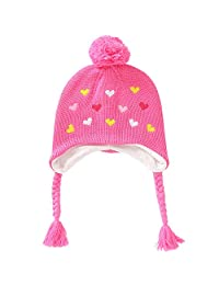 E.mirreh Baby Toddler Children Knitted Beanie Warm Earflap Hat Girl Pink Heart
