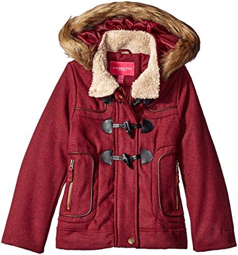 - London Fog Girls' Big Toggle Wool Coat with Faux Fur Hood, Burgundy 14/16